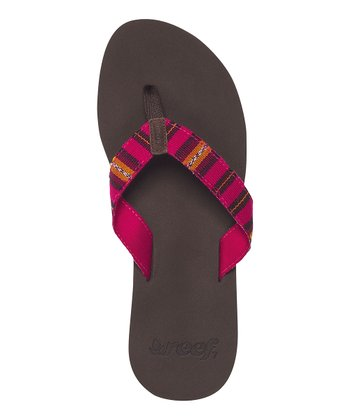 Brown & Pink Stripe Guatemalan Love Suede Flip-Flop - Women