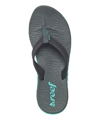Gray & Turquoise Shore Drift Flip-Flop - Women