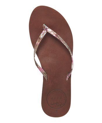 Brown Snakeskin Leather Uptown Sandal