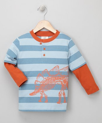Slate Stegosaurus Layered Henley - Toddler