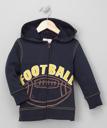 Navy Football Zip Hoodie - Toddler & Boys