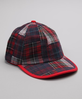 Red & Navy Plaid Baseball Cap