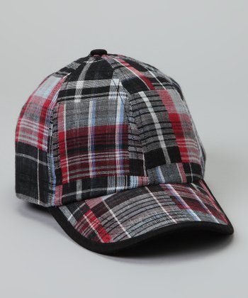 Black & Red Plaid Baseball Cap