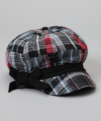 Black & Red Plaid Bow Newsboy Hat