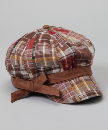 Brown Plaid Bow Newsboy Hat