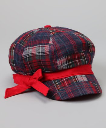 Red & Navy Plaid Bow Newsboy Hat