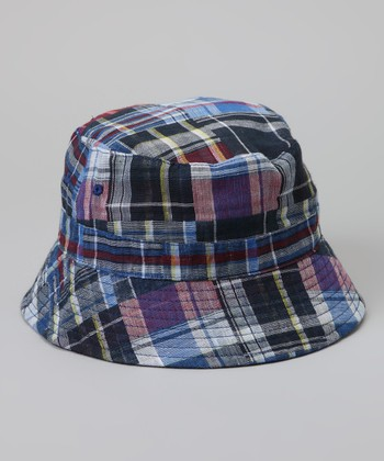 Blue Plaid Reversible Bucket Hat