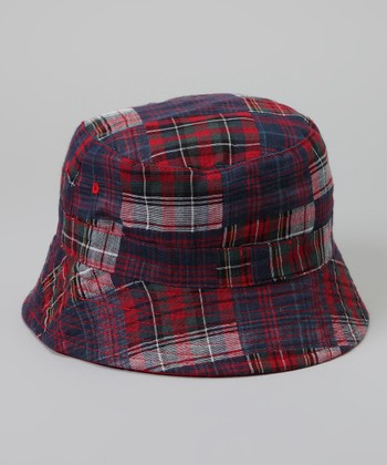 Red & Navy Plaid Reversible Bucket Hat