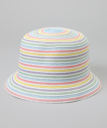 White & Blue Stripe Bucket Hat