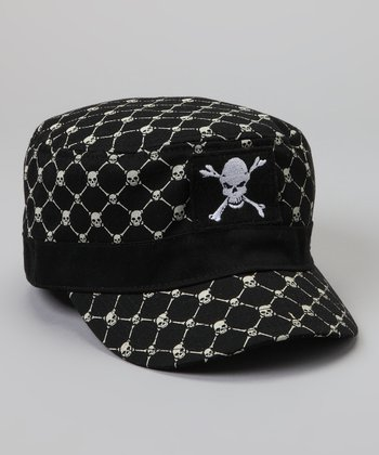 Black Skull Newsboy Hat