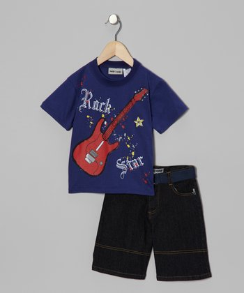 Navy Guitar Tee & Denim Shorts