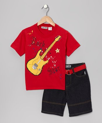 Red Guitar Tee & Denim Shorts