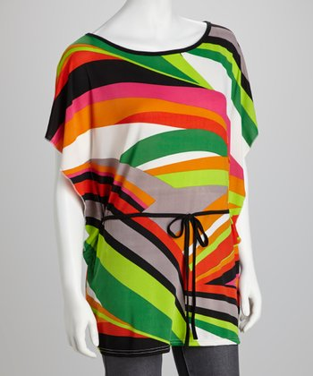 Orange & Green Tie Cape-Sleeve Tunic - Plus