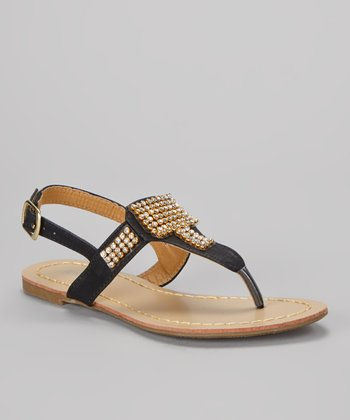 Black Amy Embellished T-Strap Sandal