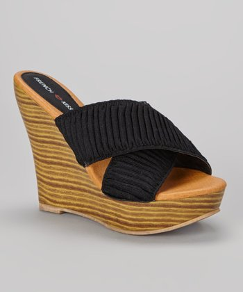 Black Colette Wedge Sandal