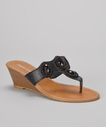Black Embellished Christina Wedge Sandal