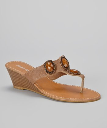 Brown Embellished Christina Wedge Sandal