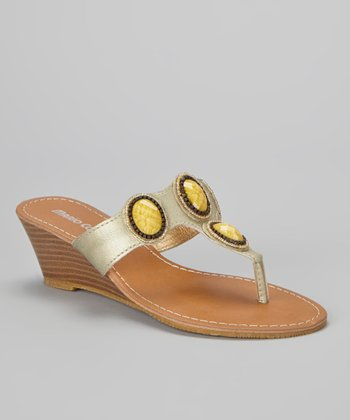 Gold Embellished Christina Wedge Sandal
