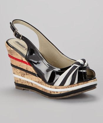 Black Gilda Slingback Wedge