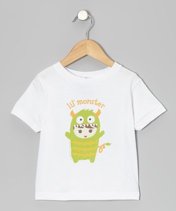 White 'Lil' Monster' Flavorkid Tee - Toddler & Girls