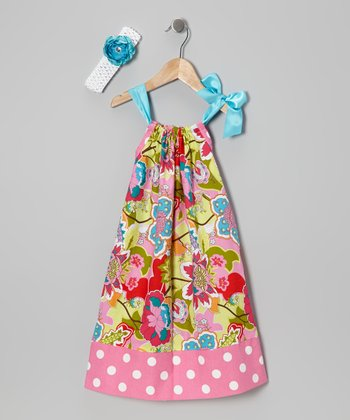 Pink Floral Swing Dress & Headband - Toddler & Girls