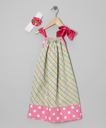 Pink & Green Plaid Swing Dress & Headband - Toddler & Girls