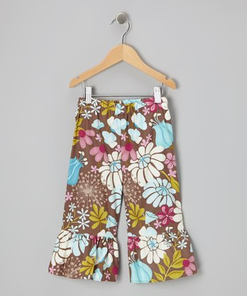 Brown Floral Cropped Pants - Infant, Toddler & Girls