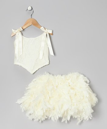 Ivory Lace Tie Top & Feather Skirt - Infant, Toddler & Girls