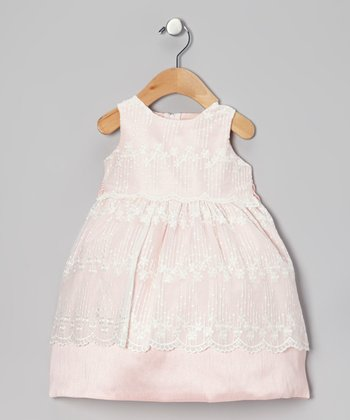 Pink & Ivory Chantilly Lace Dress - Infant