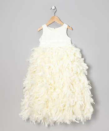 Ivory Feather Sash-Tie Dress - Infant