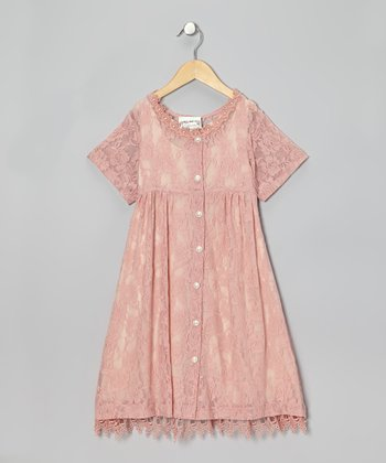 Rose Lace Button-Up Dress - Infant, Toddler & Girls