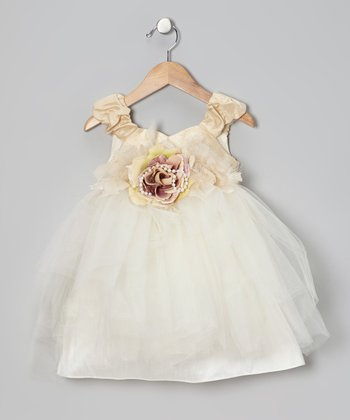 Ivory Pearl Rose Dress - Infant