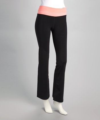 Black & Neon Salmon Yoga Pants