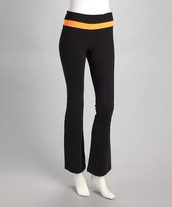 Black & Tangerine Yoga Pants
