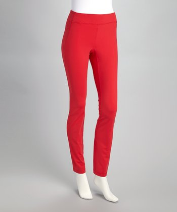 Red Curved Seam Leggings