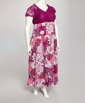 Magenta Plus-Size Maxi Dress