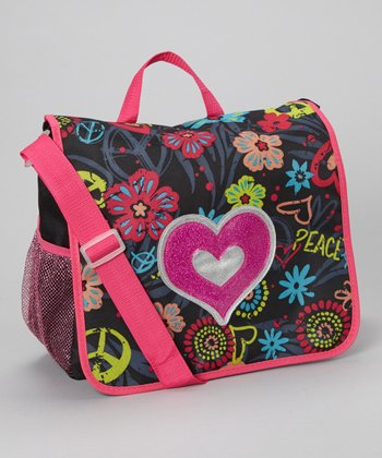 Heart Glitter Messenger Bag