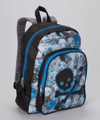 Black & Blue Skull Backpack