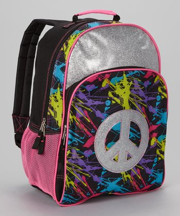 Glitter Peace Sign Backpack