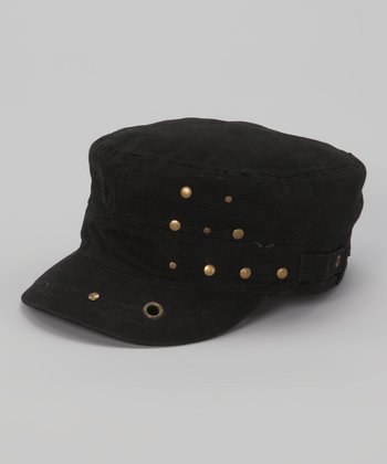 Black Studded Military Hat