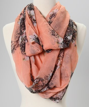 Blush & Black Cross Lace Infinity Scarf
