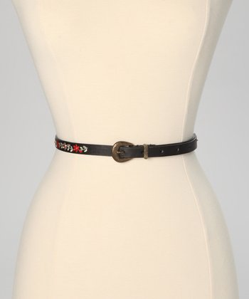 Black Floral Embroidered Skinny Belt