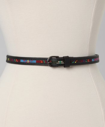Black Tribal Skinny Belt