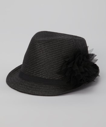 Black Flower-Trim Fedora