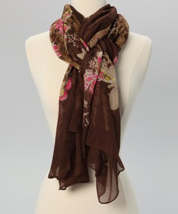 Brown Floral Butterfly Scarf