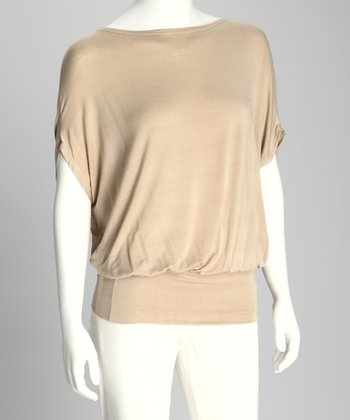 Beige Kiara Cape-Sleeve Top - Women
