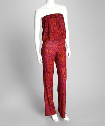 Rajan Wine Strapless Jumpsuit - Women