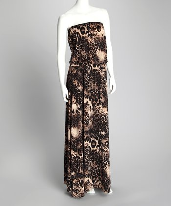 Brown Leopard Strapless Maxi Dress - Women