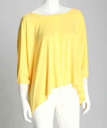 Lemon & White Side-Tail Dolman Top - Women