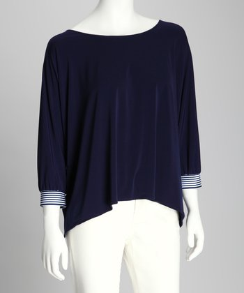 Navy & White Sidetail Dolman Top - Women